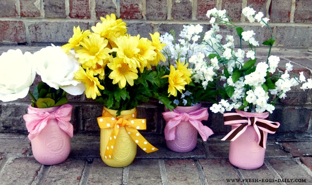Painted Mason Jar Flower Vases Fresh Eggs Daily