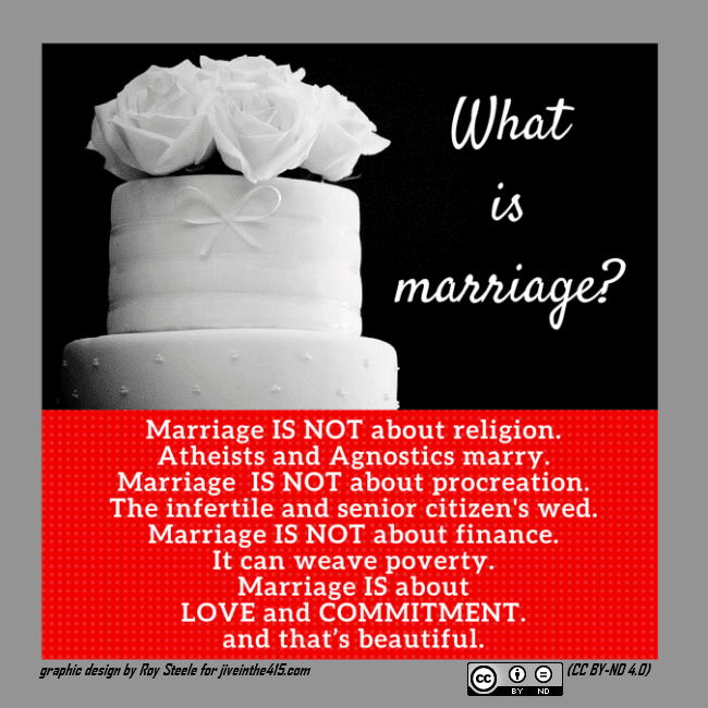 "What is marriage? What does the Bible really say about marriage?  Image size=650px by 650px A photograph of a white wedding cake, and text that asks ""what is marriage?"""
