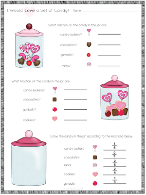 This is a fractions of a set freebie that uses candy images!
