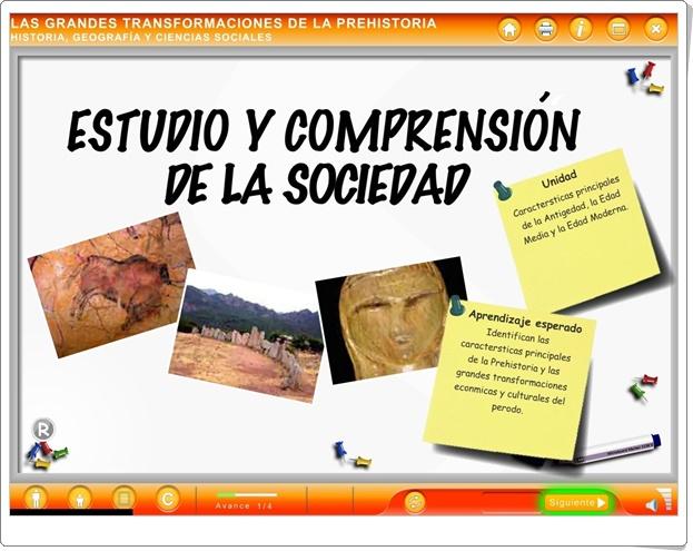 """""""Las grandes transformaciones de la Prehistoria"""" (Aplicación interactiva de Historia de Secundaria)"""
