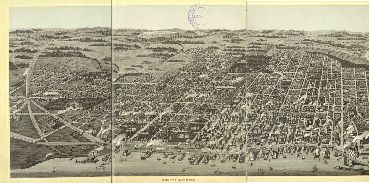 1870 Bird's Eye View map of Toronto, published by Canadian Railway News