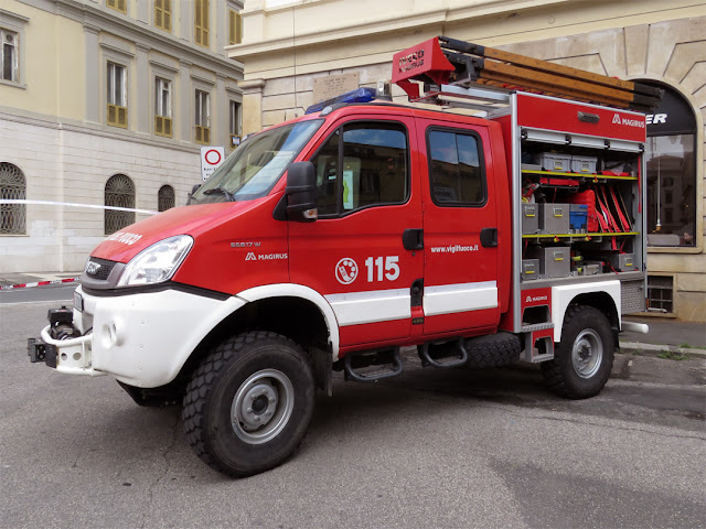 A truck of the Fire Department on display in Piazza Cavour, Livorno