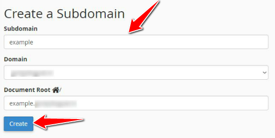 Enter the Subdomain Name