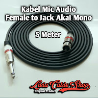 Kabel Mic XLR Audio Female To Jack Akai Mono Canon Canare 5 Meter