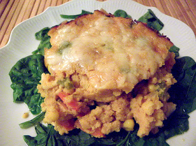 Plate of Chilean Pumpkin Casserole on Spinach