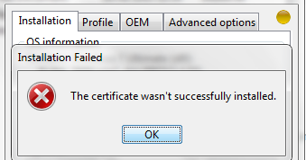 Windows Loader The Certificate wasn't successfully installed