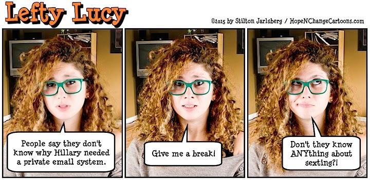 lefty lucy, liberal, progressive, political, humor, cartoon, stilton jarlsberg, conservative, clueless, young, red hair, green glasses, cute, democrat, hillary, clinton, email, scandal