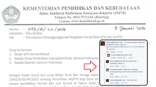 Surat Edaran tentang penunjukan Penanggungjawab Pengelola Verval Data GTK dan NUPTK