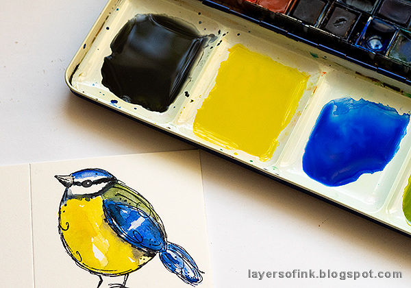 Layers of ink - DIY Watercolor Birds Pen Holder by Anna-Karin Evaldsson. Watercolor the blue tit.