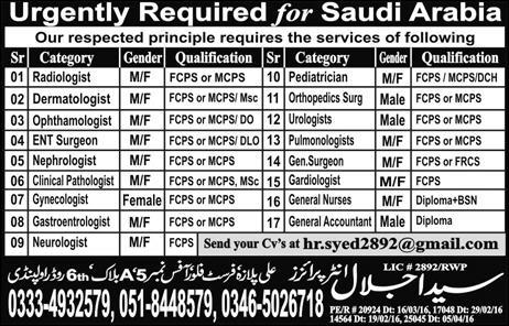 MBBS Doctors , Nurses & Accounts Jobs in Saudi Arabia