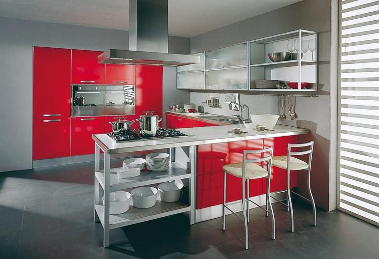 8 Cocinas Color Rojo Italianas Modernas Ideas Para Decorar - Cocinas-color-rojo
