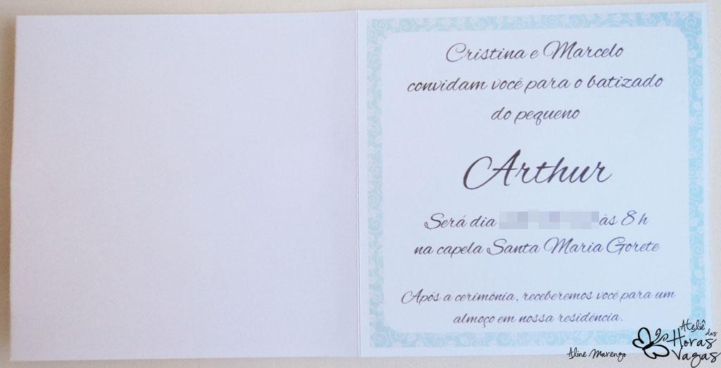 convite artesanal provençal anjinho batismo batizado azul branco