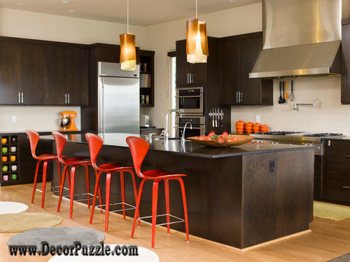 mid century modern kitchen, dark kitchen color