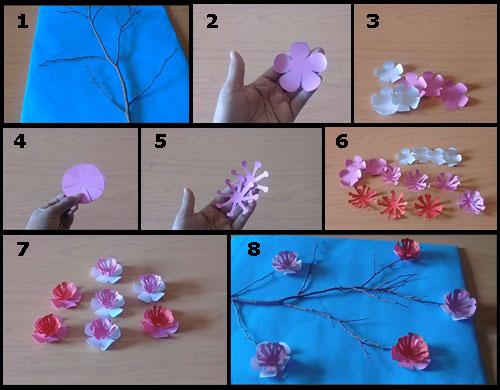 Ide kreatif membuat hiasan dinding bunga sakura dari kertas tutorial hiasan dinding bunga sakura dari bahan kertas thecheapjerseys Gallery