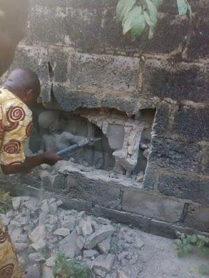12 year old boy buried in block wall