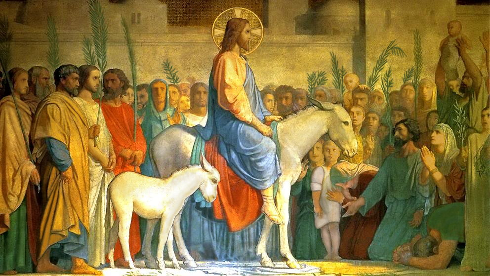 Los días que estremecieron al mundo Christ-entering-Jerusalem-on-a-donkey_01