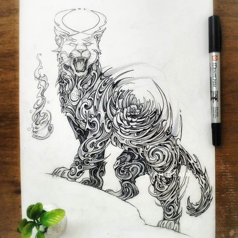 08-Lioness-Animal-Drawings-Syahid Zain-www-designstack-co