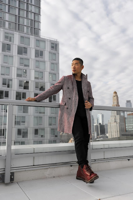 Leo Chan wearing Burgundy Topcoat and Oxblood Dr Marten Combat Boots