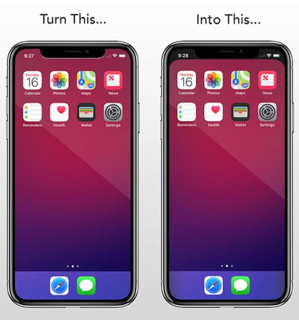 Want to hide the horn type notch on iPhone X? Notcho lets you quickly and easily create wallpapers that hide the notch on your new iPhone X.