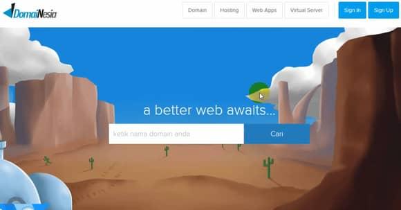 tampilan homepage dari domainesia