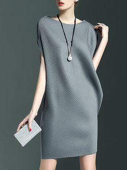 bc690a27f63 Cyanne Sea Gray Bateau boat Neck Ribbed Sleeveless Plain Mini Dress