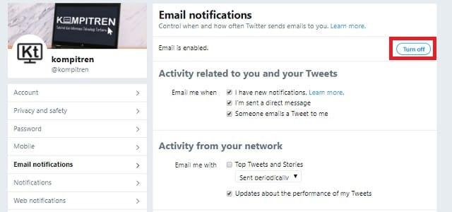 Cara Berhenti mendapatkan Email Pemberitahuan dari Twitter 4