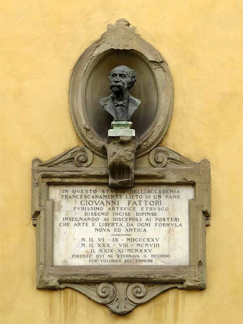 Bust of Giuseppe Fattori by Fosco Tricca with plaque, Academy of Fine Arts, via Battisti, Florence
