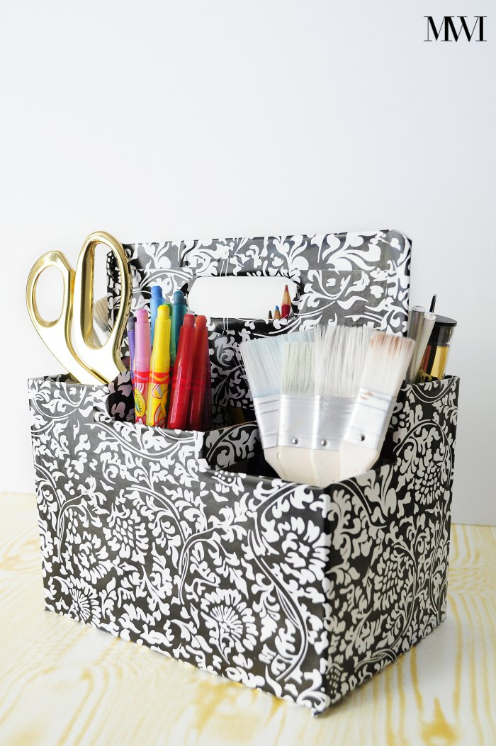 A great recycle/upcycle project: turn a cardboard drink/wine carrier into a portable craft supply station. Great for homeschooling or children's playrooms. Also looks beautiful in a craft room or office.