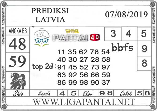 "PREDIKSI TOGEL ""LATVIA"" PANTAI4D 07 AGUSTUS 2019"