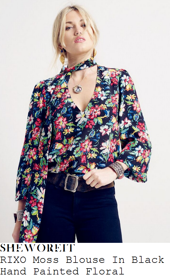 holly-willoughby-rixo-moss-black-hand-painted-floral-print-pussybow-blouse