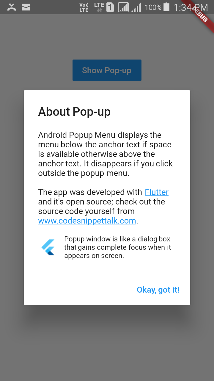 Flutter - Flutter popup menu example  ~ Developer Libs
