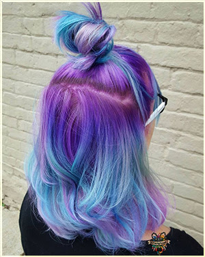Purple and blue Hair Color - Two Tone Hair Color Ideas For Long Hair