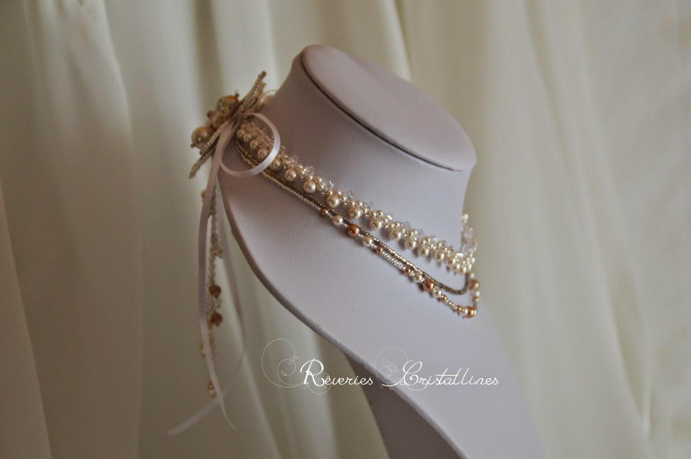 collier mariage avec cascade de perles