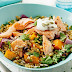 Baked Salmon And Freekeh Salad With Labne Recipe