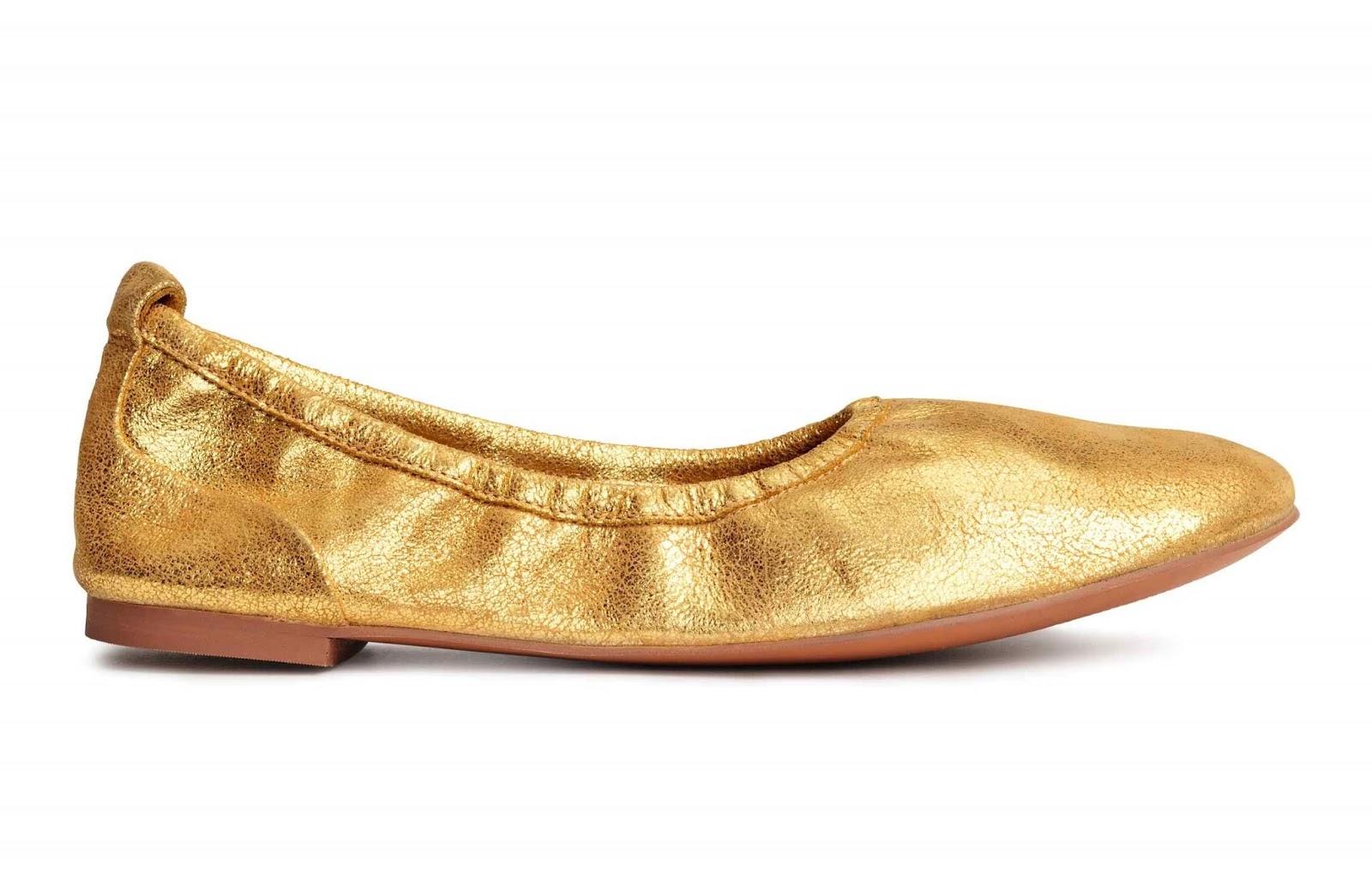 H&M bailarinas doradas de piel suave