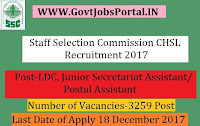 Staff Selection Commission CHSL Recruitment 2017 – 3259 LDC, Junior Secretariat Assistant, Postal Assistant