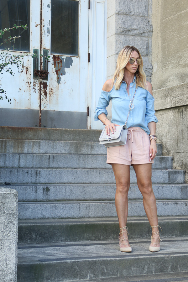 blush cuffed linen shorts parlor girl