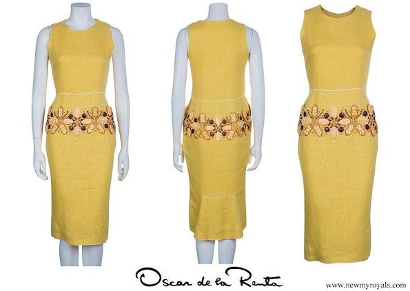 Queen Maxima wore Oscar de la Renta Embellished Dress
