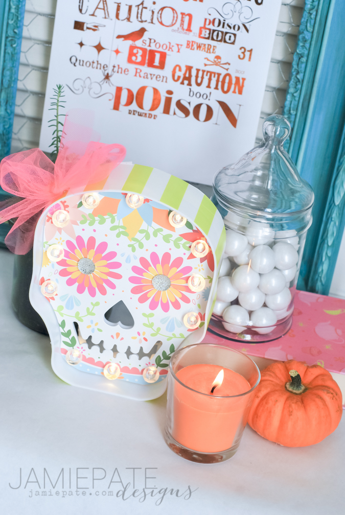 Sugar Skull all fancy and cutie for Halloween. Decorated using the @Kohls and Heidi Swapp Marquee DIY Kits. @jamiepate for @heidiswapp