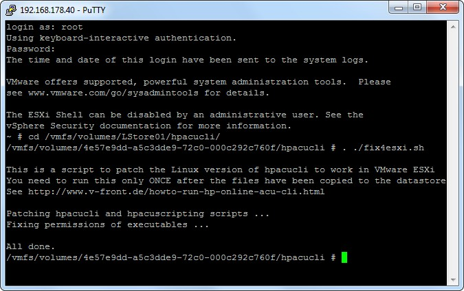 VMware Front Experience: How to run the HP Online ACU CLI for Linux