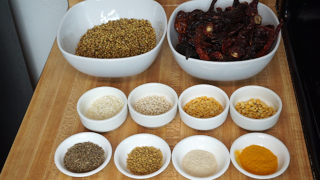 Ingredients-for-making-Sambar-powder