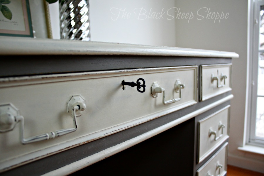 Vintage key in desk.