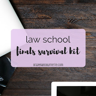 What would I want to get in a law school finals care package? School supplies, library necessities, stress relievers, and goodies. Here's a list of 23 things I'd put in a finals survival kit. law school finals care package. law school finals survival kit. law school present. law school gift. what to give your law student. law school supplies care package. law school study care package. DIY care package. cheap care package. law school blog. law student blogger | brazenandbrunette.com