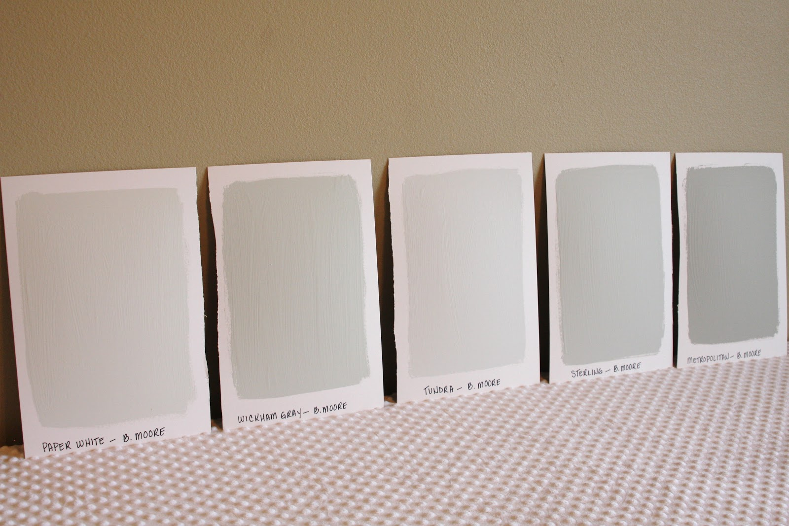 Oversized paint samples simply organized