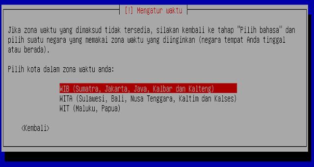 Instalasi Debian - Memilih zona waktu tempat kita tinggal