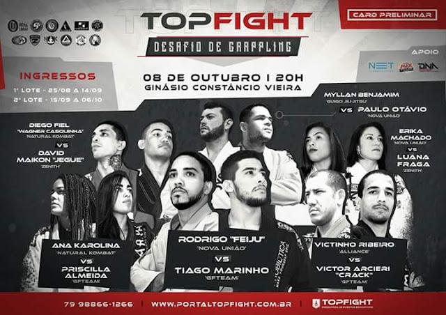 Evento TOP FIGHT DESAFIO DE GRAPPLING acontecerá em Aracaju