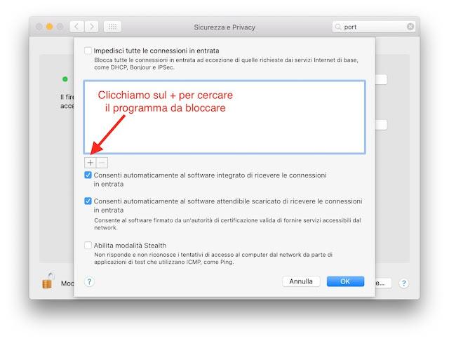 Come bloccare l'accesso di un programma a Internet su mac