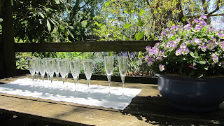 Crystal flutes, ready for the celebration of the marriage