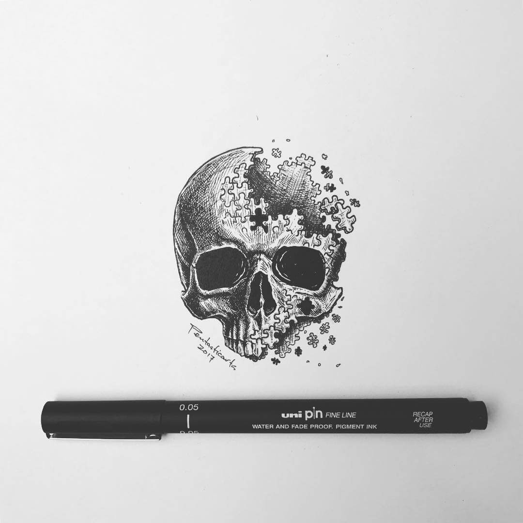 08-Shattered-A-Skull-Concept-Joseph-Catimbang-Black-and-white-Ink-Graphic-Design-Art-www-designstack-co