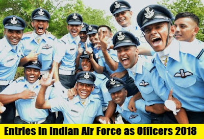 Upcoming Entries in Indian Air Force as Officers 2018 - 2019
